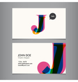 Business card template letter J vector image vector image