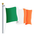 waving ireland flag isolated on a white background vector image