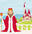 smiling King looks at the castle vector image