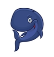 Cartoon smiling blue sperm whale character vector image vector image