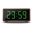 Retro green digital clock isolated on white vector image
