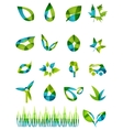 Abstract green leaf shapes icon set vector image