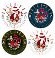 flat design labels set for paleo food restaurant vector image