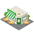 isometric pizzeria building icon vector image