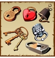 Set of locks keys and bell as design elements vector image