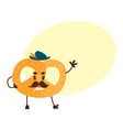 sweet humanized pretzel character isolated vector image
