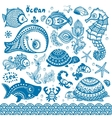 set of fish and shells vector image