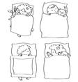 kids sleeping contour vector image