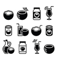 Coconut milk oil cocktail - icons set vector image