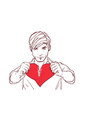 handsome man tearing red heart shape apart vector image