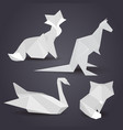 set of paper origami figures of animals element vector image