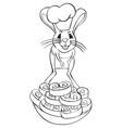 Jerboa chef outline vector image