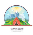 flat style design of mountains landscape and vector image