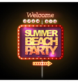 Neon sign summer beach party vector image