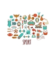 Hand drawn fitness and sport doodle icons vector image