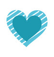 blue heart stripes love romance passion drawing vector image