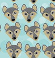 Dog Wolf Seamless pattern with funny cute animal vector image