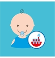 funny red ship toy baby icon vector image