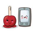 kawaii smartphone and candy apple image vector image