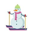Snowman Skiing in Green Hat and Pink Scarf vector image