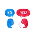 Two people with different shapes cloud talk for vector image