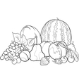 fruits group for Coloring Book vector image vector image