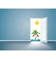 Door to island view behind an open door concept vector image