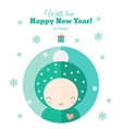 Greeting card with fun child for New Year in flat vector image