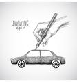 Hand drawing car vector image