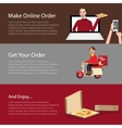 order pizza online food delivery mobile laptop vector image