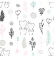 pastel seamless pattern with hand drawn cactuses vector image