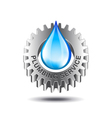 Plumbing service concept with metal gear and water vector image
