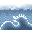storm in ocean with big wave vector image