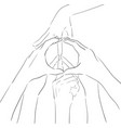 contour of human hands and sign of peace gesture vector image