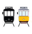 lisbon tramway in black and yellow color vector image