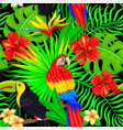 seamless pattern of tropical bird leaves and vector image