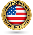 USA Indpendence Day the 4th of july gold label vector image