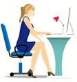 beautiful girl works on a computer sitting in a vector image