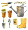 watercolor gardening set vector image vector image