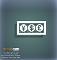 Cash currency icon symbol on the blue-green vector image