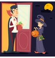 Vintage Happy Smiling Male Vampire Female Witch vector image vector image