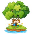 An island with a sweet couple vector image