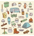 Camping hand drawn colorful icon set vector image
