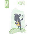 vertical of mouse on a colorful meadow background vector image