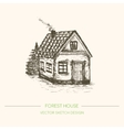 Wood house in retro sketch style vector image