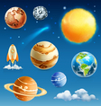 Space and planet icon set vector image