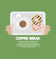 Coffee Break Top View Of Donuts And Hot Coffee vector image