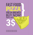 banner for fast food restaurant with pizza vector image