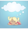 Cartoon girl with a thought bubble vector image