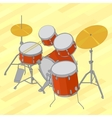 Drum set flat isometric vector image